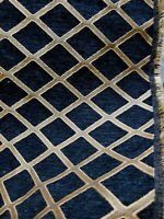 Chenille  Black Gold Diamond Upholstery sofa Fabric By The Yard