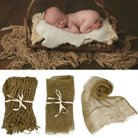 AU_ Newborn Baby Jute Basket Stuffer Burlap Layer Net Backdrop Blanket Photo Pro