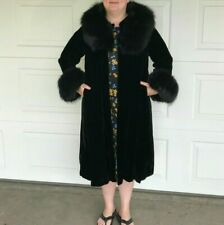 Vintage Fox Fur Coat Black Velvet Norwegian Collar Cuff Cape Long Jacket 1950 XL