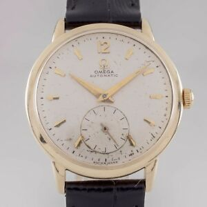 Omega Ω 14k Yellow Gold Automatic Men's Watch Calibre 342 w/ Black Leather Band