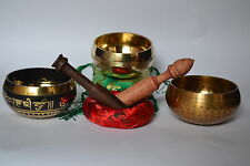 SET OF 3 Tibetan Singing Bowl Meditation for Healing Relaxation Therapy