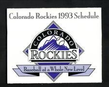 Colorado Rockies--1993 First Season Pocket Schedule
