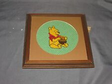"""g Winnie The Pooh Counted Cross Stitch Finished 9"""" Square Frame 7"""" Round Mat"""