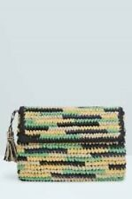 Mango Small Weave Clutch Bag Green LF083 ii 11