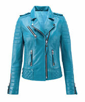New Women's Genuine Lambskin Leather Jacket Motorcycle Slim fit Biker Jacket
