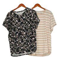 Isaac Mizrahi Live! Women's Top Sz XL Set Of 2 Print Floral Stripe Black A378218