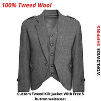 Grey Tweed Crail Highland Kilt Jacket and Waistcoat Scottish Wedding Dress