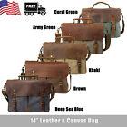 "Canvas Leather 14"" Laptop Briefcase Men CrossBody Shoulder Messenger Bag Satchel"