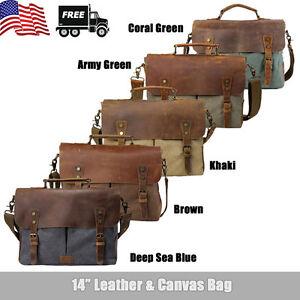 Men Vintage Leather Canvas 14'' Laptop Schoolbag Satchel Shoulder Messenger Bag