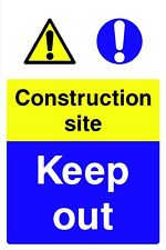 Warning Construction Site Keep Out Safety Rigid Sign 600 x 400mm C8CF