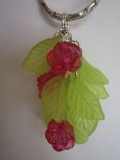 Silver tone Bag Charm / Keyring - Rose Bush - Pink / Cerise/ Fuschia Flowers