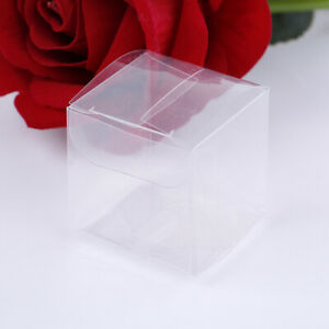50pcs transparent gift candy box square pvc chocolate bags boxes wedding faYJn$