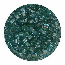 Japanese Glass Triangle Bead 8/0 Lined Aqua Shimmering Green Ab