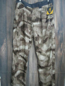 Browning Broadhead Camo Pants SZ 38 Soft Shell Light Weight A-Tacs Camo 38x30