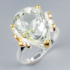 Handmade8ct+ Natural Green Amethyst 925 Sterling Silver Ring Size 7.75/R120061