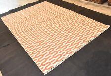 Hand Woven Orange Color Cotton Kilim Rug Size 6x9 Feet Area Rug
