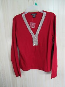 New Boston Proper Top Size L Red Sequins Beads V Neck Long Sleeve Casual Work