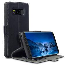Samsung Galaxy S8 Edge de bajo perfil Premium Folio Libro Funda Cartera De Cuero Negro.