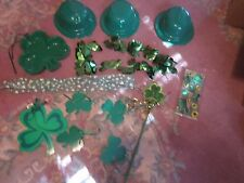 St Patrick's Day Lot Decorations Hats Shamrock Tray Necklace Party Bags Wand