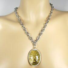 Schöne lange Edelstahl Halskette mit großem grünen Acryl Anhänger und Strass