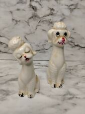 Salt Pepper Shakers Vintage Standard Poodle Boy Girl Kissing Tall White Japan