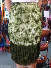 BEAUTIFUL GREEN TIE DYE A-LINE MID LENGTH CRINKLE SKIRT RRP$40.00 W/SALE OUTLET