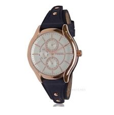 NEW FOSSIL ROSE GOLD TONE,BLUE LEATHER CUFF BAND,MULTIFUNCTION WATCH BQ3138