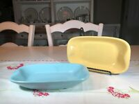 Vintage Mid Century Modern Ceramic Rectangle Plates, 3 Blue and 2 Yellow
