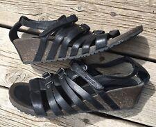 Teva Black Leather Cabrillo Gladiator Wedges Sandals 1008268 Size 11 Women's