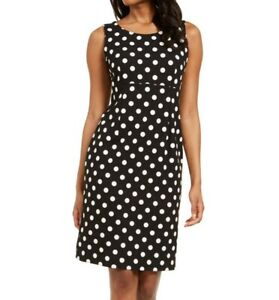Kasper Womens Dress Black Size 10P Petite Sheath Polka-Dot Stretch $89 267