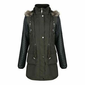 Ladies Designer Jess Parka Hooded Jacket, PU Sleeves, Faux Fur Trim, Sizes 10-18