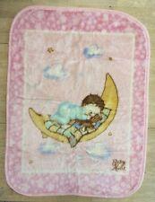 Baby Mink Blanket Pink Plush Throw Chiko Knitting Moon Stars Blue Teddy Bear