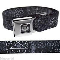 Supernatural Pentagram Stars Occult Goth Black Seatbelt Seat Belt Buckle Down