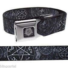 Supernatural Pentagram Stars Occult Goth Black Seatbelt Seat Belt Buckle Down