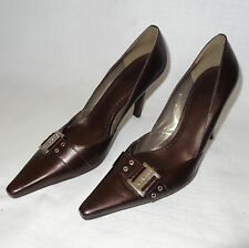 BCBGirls Women's Size 8.5B Dark Brown Leather Pointed Toe Buckle High Heel Shoes