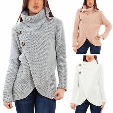 Maglione donna pullover collo alto bottoni pull inverno tricot TOOCOOL VB-6201