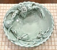 "Beautiful Vintage 3 Dimentional Rose Flower Ceramic Center Bowl 12"" X 3"""
