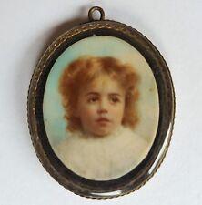 Miniatur mit Kinder Portrait, kleines Mädchen um 1900, Gouache