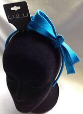 LuLu Blue Fabric Bow Headband- New
