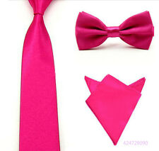 New 3PCS Mens Handkerchief Bowtie Tie Matching Groomsmen Party Wedding YJCtr0019