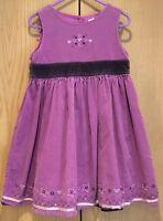 Girls Next Purple Corduroy Dress Age 3 Years Floral Sleeveless Autumn Party