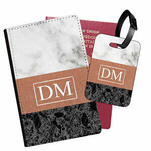 Personalised Marble PU Leather Passport Holder Travel Wallet & Luggage Tag - 32