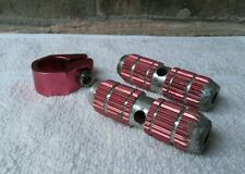 Old School Style Red Finned Pegs and Seatpost Clamp BMX 26t Axle Extenders