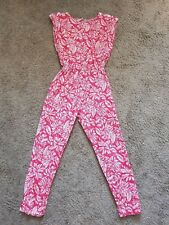 Ladies 80s pink and white floral cotton jumpsuit and belt! Size 12-14