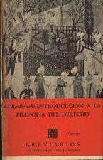 Gustav Radbruch Introduccion A La Filosofia Del Derecho FCE Breviarios 42