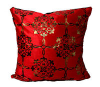 CUSHION CUSHION COVER LARGE SET OF 4 DAMASK VELOUR FAUX FUR CUSHIONS RED GOLD
