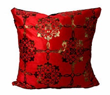 Cushion cover Large Set Of 4 Damask Velour Faux Fur  Red Gold 20x20""