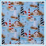 BonEful Fabric FQ Cotton Quilt Blue Red Sea Scenic Lighthouse Beach Bird Seagull