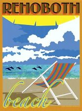 Rehoboth Beach, DE -Chair- Art Deco Style Travel Poster -by Aurelio Grisanty
