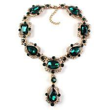 Anthropologie elegante collana con pietre di vetro verde NUOVO